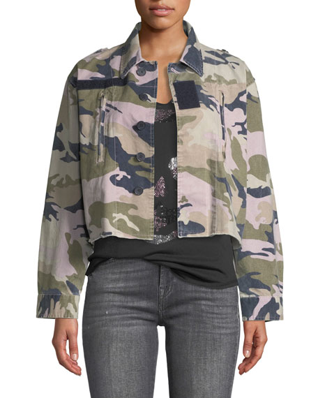 ZADIG&VOLTAIRE Cropped Camo-Print Military Jacket in Parme