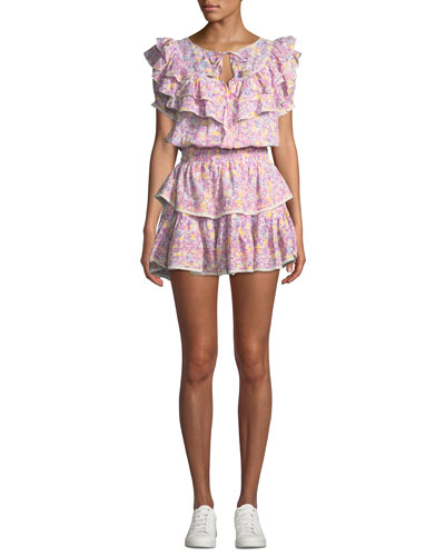 Liv Tiered Ruffle Floral Cotton Coverup Dress