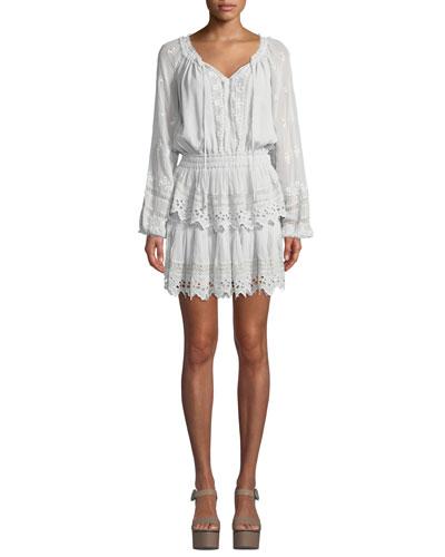 Embroidered Popover Short Dress