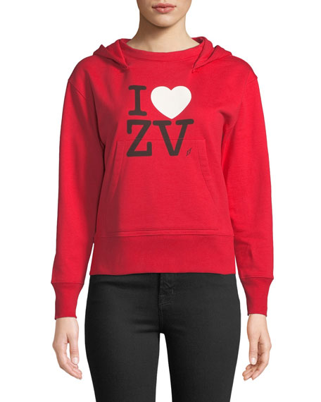 I Love ZV Cotton Pullover Hoodie