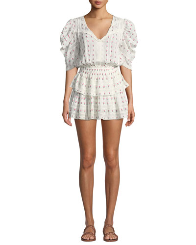 Marissa Puff-Sleeve Floral Flounce Mini Dress