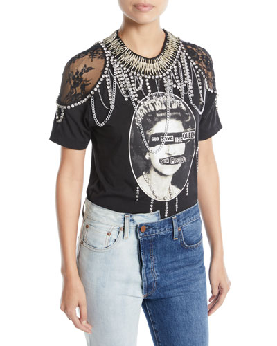 Carter Lace-Shoulder Embellished Tee