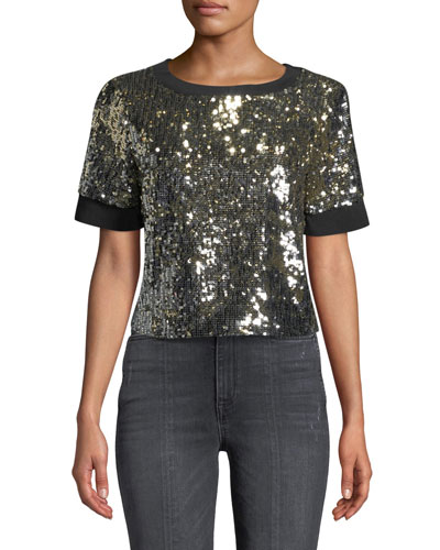 Danica Sequin Crewneck Crop Top