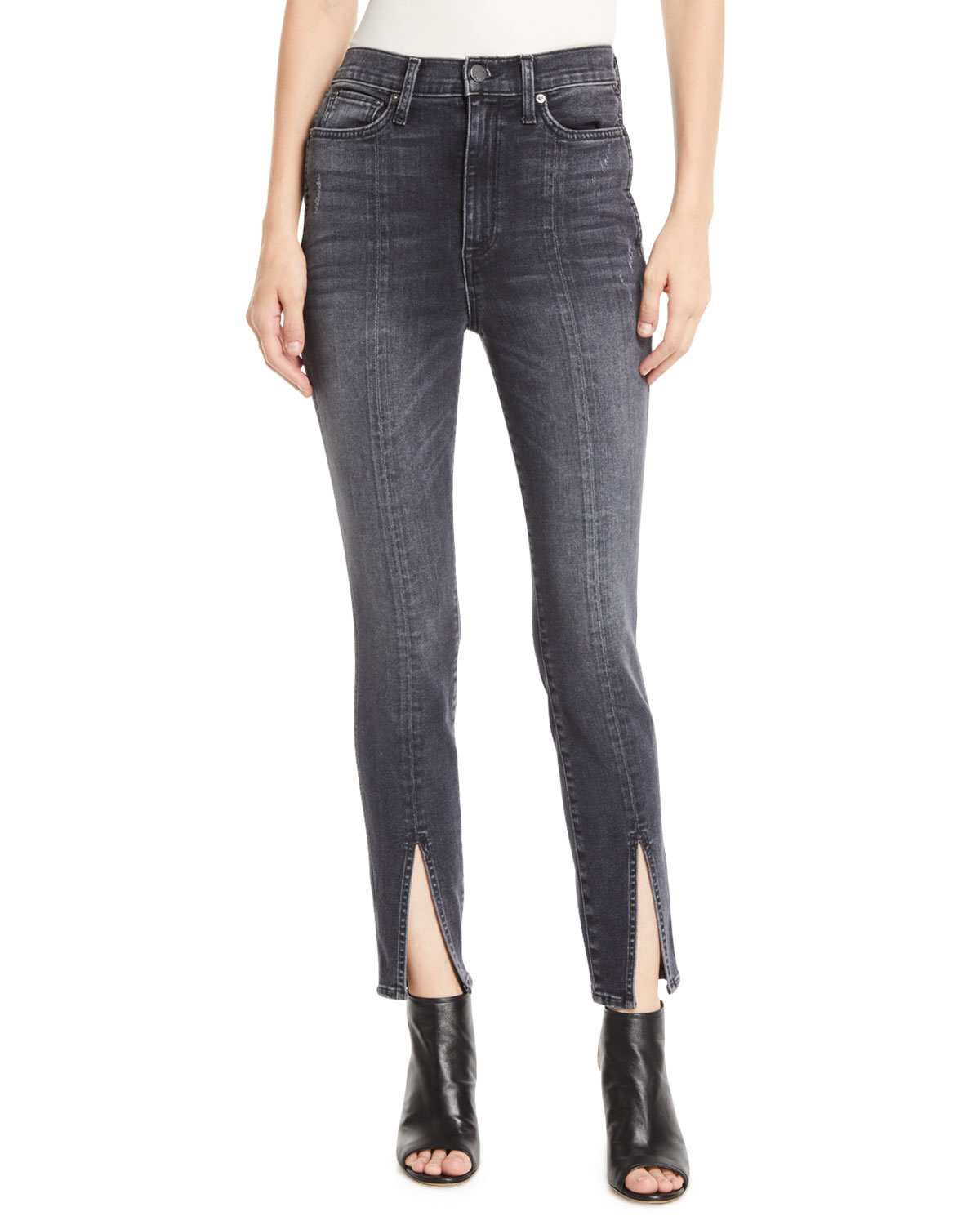 0933ddea0a ALICE + OLIVIA JEANS Good High-Rise Skinny Jeans with Front Slit ...