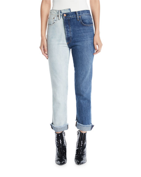 Amazing Two-Tone High-Rise Boyfriend Jeans