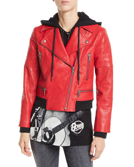 AO.LA by Alice+Olivia Avril Zip-Front Leather Jacket w/