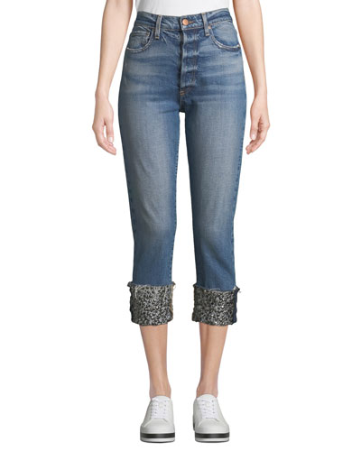 Amazing High-Rise Girlfriend Jeans with Cuffs