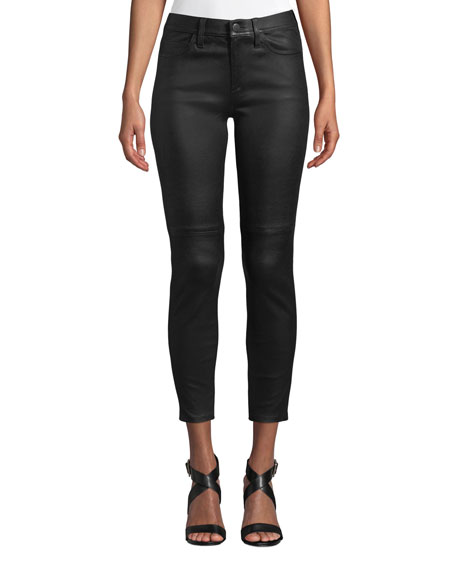 The Stiletto High-Rise Leather Skinny Jeans