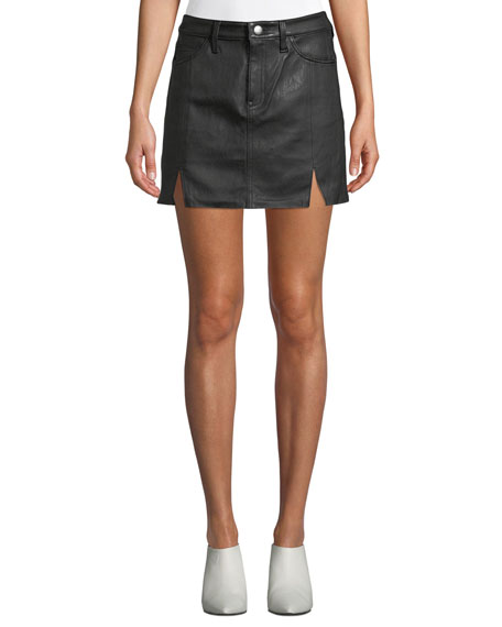 Current/Elliott The Leather Mini Five-Pocket Skirt