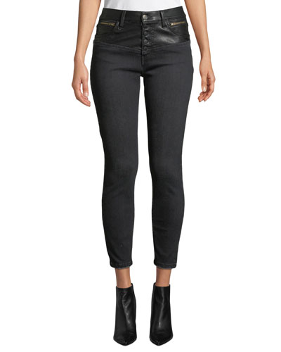 The Fused High-Waist Stiletto Jeans w/ Faux-Leather