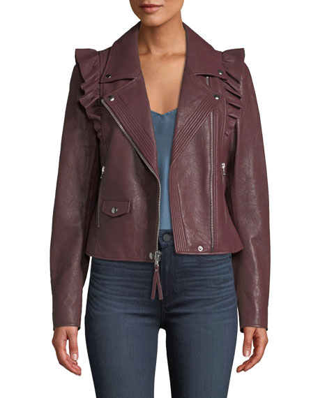 Annika Zip-Front Ruffled-Trim Lamb Leather Moto Jacket