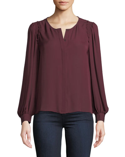 Ambrosine Silk Button-Front Top