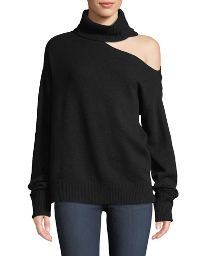 Raundi Cold-Shoulder Turtleneck Wool-Blend Sweater
