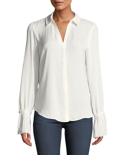 Abriana Button-Front Bell-Sleeve Top