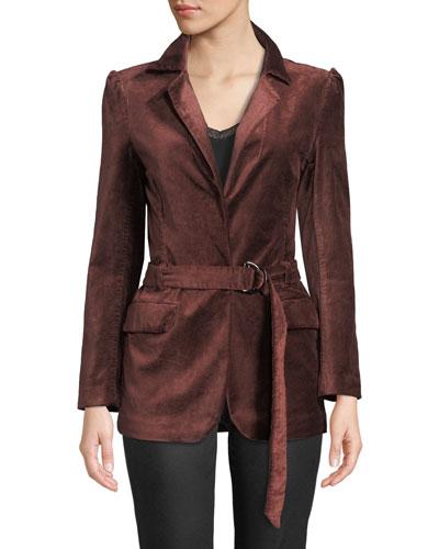 Sorrenti Belted Velvet Blazer