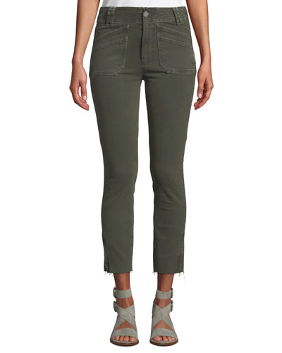 Hoxton Utilitarian Skinny Ankle Jeans with Raw Hem