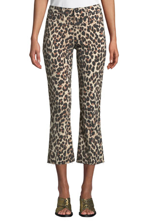 PAIGE Colette Flared Leopard-Print Cropped Jeans