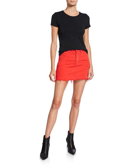 Hudson The Viper Camo Frayed Denim Mini Skirt