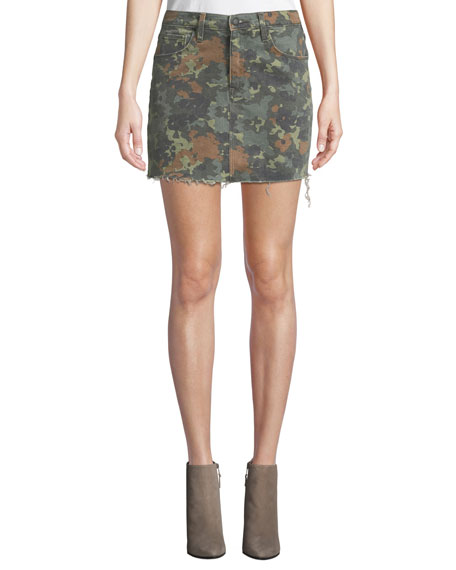 Hudson The Viper Camo Frayed Denim Mini Skirt
