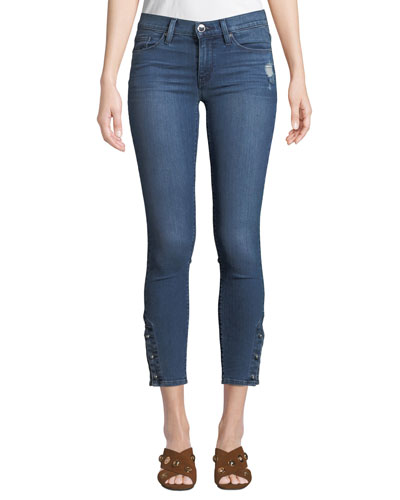 Nico Mid-Rise Cropped Skinny Jeans with Pierced Hem
