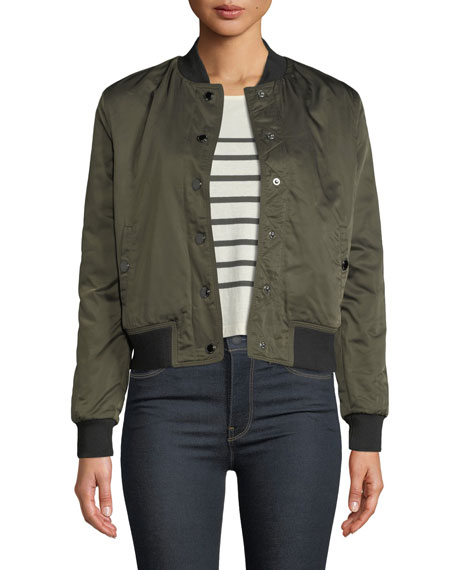 Snap-Front Bomber Jacket in Green Army