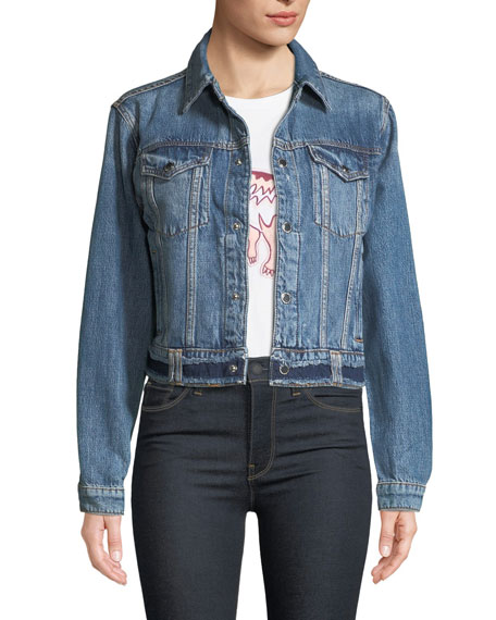 Hudson Cropped Snap-Front Denim Trucker Jacket