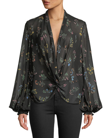 CAROLINE CONSTAS Bette Plunging Twist-Front Floral Blouse in Black