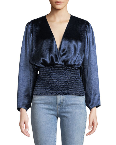Caroline Constas Sadie Plunging Smocked Satin Long-Sleeve Blouse