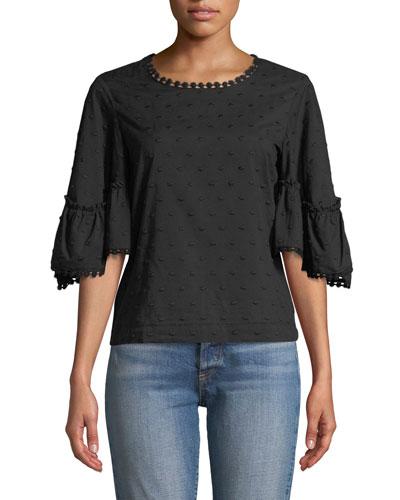 Textured Flounce-Sleeve Cotton Blouse