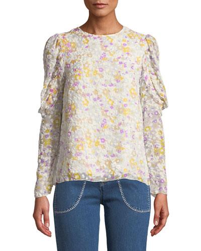 Floral Ruffle-Sleeve Crewneck Blouse