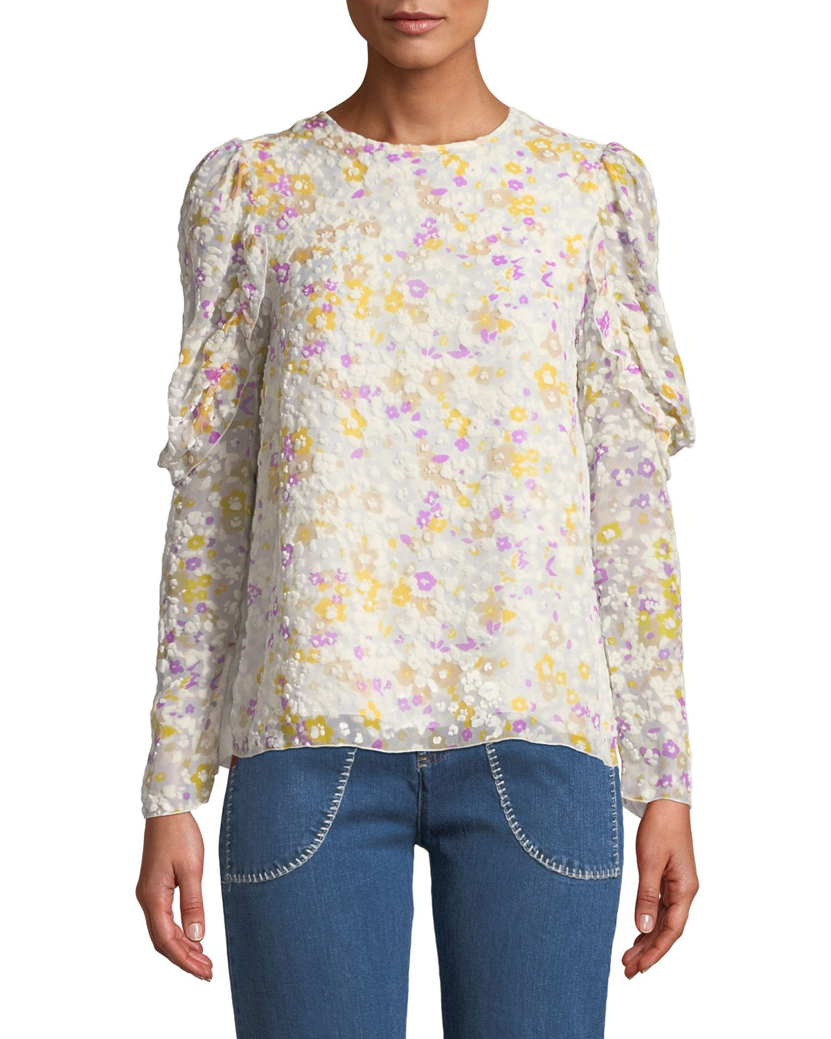 8aa83698bf487 See by Chloe Floral Ruffle-Sleeve Crewneck Blouse