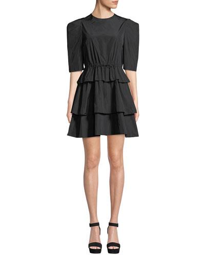 Strong-Shoulder Tiered Tie-Waist Mini Dress