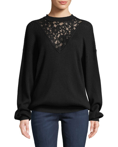 See By Chloe Long Sleeve Wool Pullover Sweater With Lace Inset