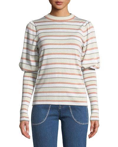 Striped Bishop-Sleeve Knit Sweater