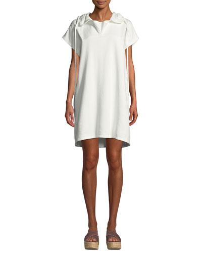 Short-Sleeve Hooded Shift Dress