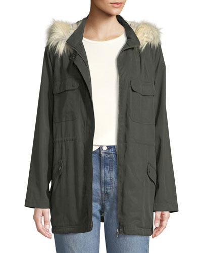 Angelique Faux-Fur Anorak Jacket with Removable Hood