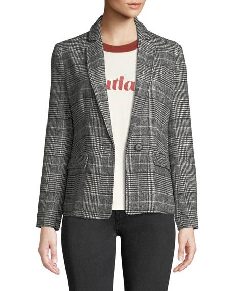 Bela Plaid Single-Button Blazer in Black
