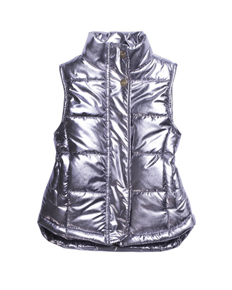 Metallic Quilted Puffer Vest, Size 8-14