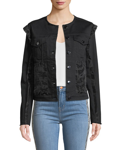 Slim Cropped Ruffle Denim Jacket