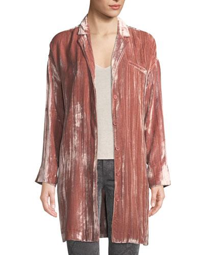 Regan Velvet Long-Sleeve Duster Jacket