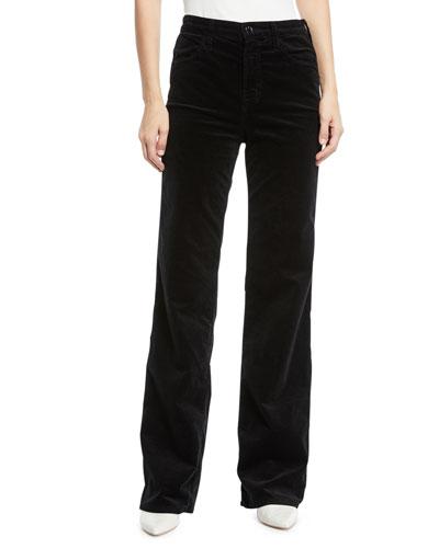 Joan Velvet High-Rise Wide-Leg Pants
