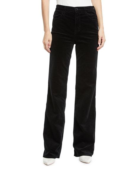 J Brand Joan Velvet High-Rise Wide-Leg Pants