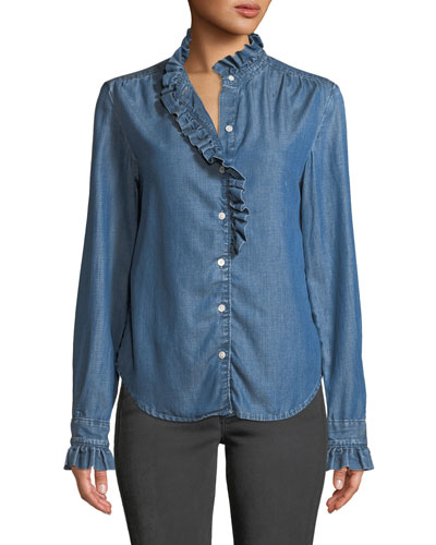 Ruffle Button-Front Denim Shirt