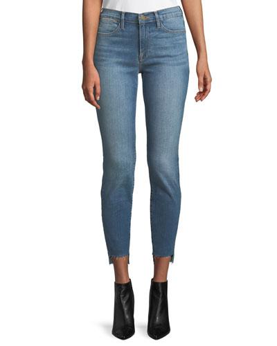 Le High Skinny-Leg Jeans w/ Raw Stagger Hem