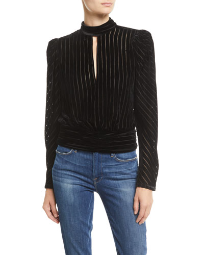 Velvet High-Neck Striped Long-Sleeve Party Top