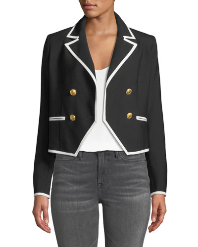 Double-Breasted Wool Jacket w/ Contrast Edges
