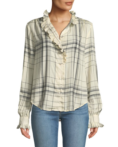 Ruffled Button-Front Long-Sleeve Plaid Shirt