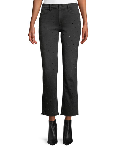 Le High Crystal-Stud Straight-Leg Cropped Jeans