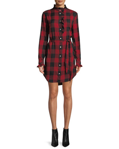 Long-Sleeve Button-Front Flannel Check Shirtdress