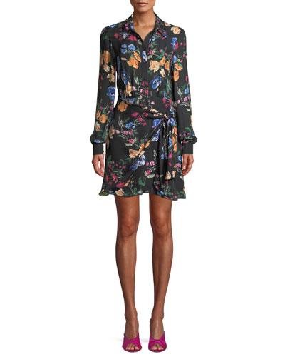 Ora Floral Long-Sleeve Mini Dress